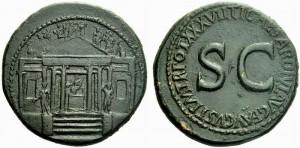 Tempio della concordia: secondo sesterzio di Tiberio