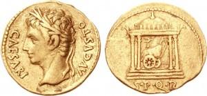 Aureo coniato dalla zecca di Colonia Patricia sotto l'imperatore Augusto tra il 19 e il 18 a.C.