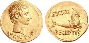Aureo coniato dalla zecca di Pergamo sotto l'imperatore Augusto tra il 19 e il 18 a.C.