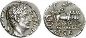 Denario coniato dalla zecca di Colonia Cesarea Augusta sotto l'imperatore Augusto tra il 19 e il 18 a.C.