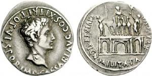 Denario coniato dalla zecca di Colonia Patricia sotto l'imperatore Augusto tra il 18 e il 17 a.C.