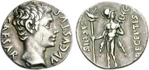 Denario coniato dalla zecca di Colonia Patricia sotto l'imperatore Augusto tra il 19 e il 18 a.C.