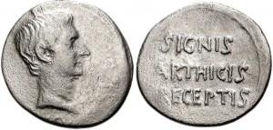 Denario coniato dalla zecca di Pergamo sotto l'imperatore Augusto tra il 19 e il 18 a.C.