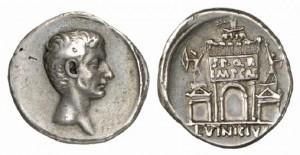 Denario coniato dalla zecca di Roma sotto l'imperatore Augusto nel 16 a.C.