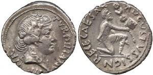 Denario di Augusto coniato dalla zecca di Roma il 19 a. C.