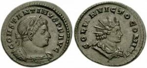 Moneta con al dritto Costantino e al rovescio Sol Invictus