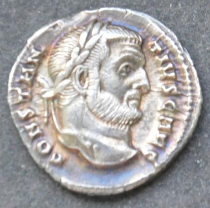 Argenteo di Costanzo della zecca do Cartagine: 296-298, dritto