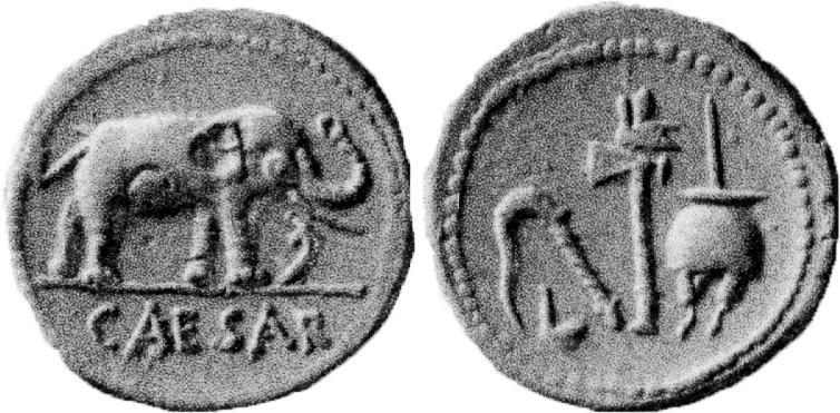 Denario di Giulio Cesare della zecca di Roma del 49-48 a.C.