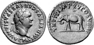 Denario imperatore Tito con Elefante