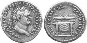 Denario dell'imperatore Tito con Pulvinar Trono degli-Dei