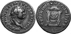 Denario dell'imperatore Tito con Pulvinar Trono degli dei