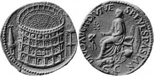 Sesterzio dell'imperatore Tito con raffigurato il Colosseo